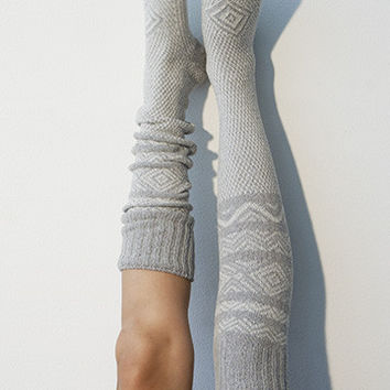 Scandinavian Pattern Knee High Socks Grey