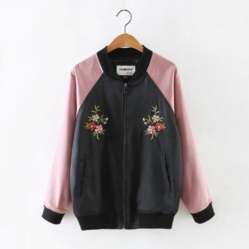 Hot Deal On Sale Sports Autumn Women's Fashion Floral Embroidery Patchwork Jacket Baseball [6332331204]