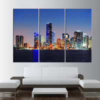 miami skyline large wall art Print, extra large wall art, citycape canvas art, miami wall art canvas, miami skyline modern wall decor t358