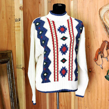 Chunky sweater / size M / tribal Aztec sweater / 90s Lizwear / womens heavy knit cotton pullover sweater / warm winter sweater