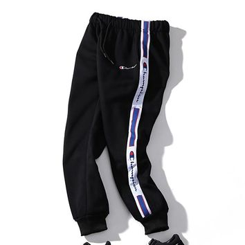 Champion Autumn Winter New Fashion Women Men Casual Embroidery Print Sport Pants BlackTrousers Sweatpants