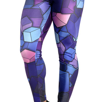 BadAssLeggings Women's Cubes Leggings Medium Blue