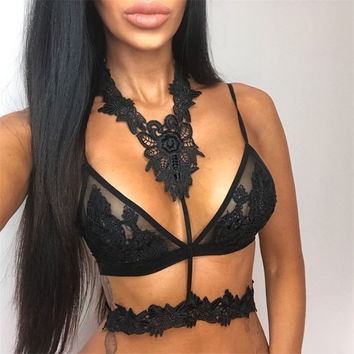 Summer Sexy v-neck black Lace mesh Hollow Out Halter Bralette Camisole Bralet Bustier Spaghetti Strap Cropped Tops
