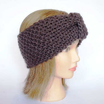 Irish handknit dark brown earwarmer headband wool women knitted teenager skiing holiday winter fall chunky knit chocolate warm accessory
