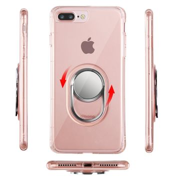 iPhone 7 Plus, iPhone 8 Plus Clear Case Rose Gold for Girls with Ring Holder, WXY Magnetic Case Shock-Absorption for Apple iPhone 8 Plus 5.5'' 2017
