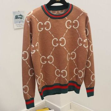 PEAPJ1A GUCCI wild sweater women's sweet college wind round neck double g letter sweater Khaki