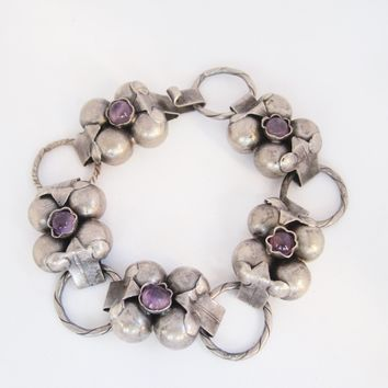 Vintage Early Mexican Silver Flower Link Bracelet with Amethyst