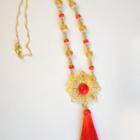Red and Gold Chinese New Year Tassel Necklace, 18k Gold Necklace with Czech Glass, Vermeil, Red Silk and Vintage Lucite; Red Necklace, SRAJD