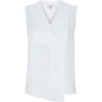 River Island Womens White wrap front tank