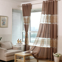 Fashion high quality stripe floor curtain window screening balcony embroidered shalian high quality kitchen window curtains