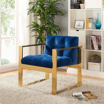 Mia Navy Velvet Accent Chair