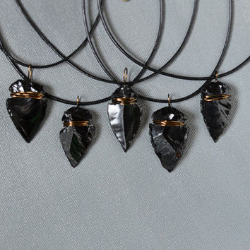 Small Bronze Wire Wrapped Black Obsidian Arrowhead Game of Thrones Dragon Glass Volcanic Necklace Black Leather Cord