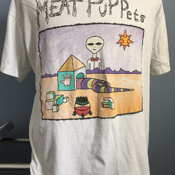 90s Vintage Meat Puppets 1994 Too High to Die T-Shirt - XL X-LARGE