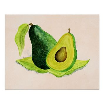 Green Avocado Still Life Fruit in Watercolors Poster