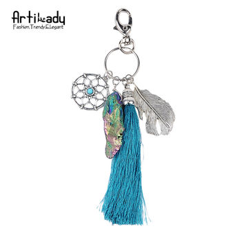 Artilady natural stone tassel keyring vintage silver boho jewelry dreamcatcher keychain for women 2016 spring