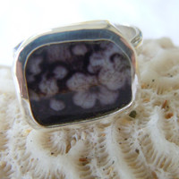 Broken China Ring Chaney Ring  Sterling Silver Ring Black Flower Ring  Any Size 100% Handcrafted