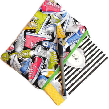 Cute zippered purse - sneaker tennis shoe fabric - nerdy geeky gear - teen trendy pencil case - women makeup clutch - pink green yellow blue