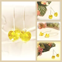 Lovely Freesia Heart Swarovski Crystal Earrings - Valentine's Day Gift - Sunny Yellow