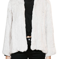 Emily Rabbit Fur Jacket - Chalk
