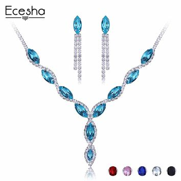 Ecesha Crystal Water Drop Beads Wedding Jewelry Sets For Bride Accessories CZ Stones Choker Necklace Earrings Set Bridal Jewelry