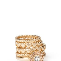 FOREVER 21 Hearts Midi Ring Set Gold/Peach