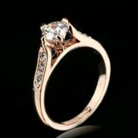 Crystal Paved Fashion 18K Rose/White Gold Plated Ring.