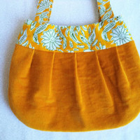 Mustard yellow shoulder bag/ handmade little purse/ mustard yellow corduroy and India block print/ cute little boho bag