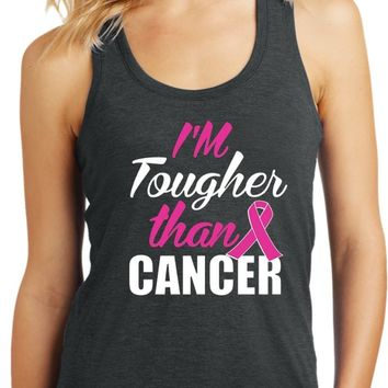 Tougher Than Breast Cancer Ladies Racerback Tank Top