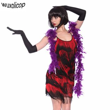 Women 1920s Flapper Great Gatsby Dress Gradual Fringe Dance Strap Sexy Party Dress