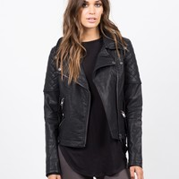 Quilted Moto Leather Jacket