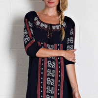 Peasant Embroidered Dress - Navy