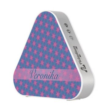 Pink stars on a blue background. Add name. Bluetooth Speaker