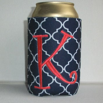 Monogrammed Custom Can navy blue Quatrefoil Koozie -  Personalized Embroidered Monogram Coozie - gift for her drink holder