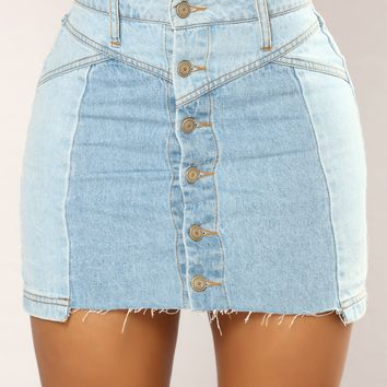 Syd Denim Button Skirt - Light