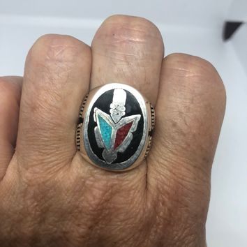 Vintage 1980's Native American Style Southwestern Stone Real Turquoise Coral Inlay Tomahawk Men's Ring