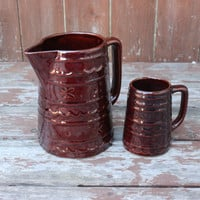 Vintage Marcrest Daisy Dot Pitcher and Mug - Made in the USA - Ovenproof Stoneware - Retro Kitchen