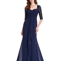 Navy Blue 2016 Mother of the Bride Dresses Lace Dress Elegant Half Sleeve Chiffon Ruffles Evening Dresses Mother Bride Gown 0136