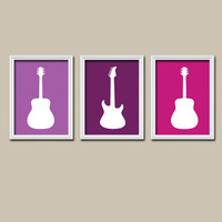 GUITAR Wall Art GIRL Nursery Canvas Artwork Child Purple Pink Lavender Custom Colors Set of 3 Trio Prints Baby Decor Bedroom Three