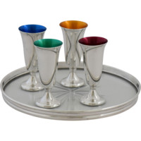 Vintage Gorham Sterling Silver Colored Cordials with Tray Set of 4