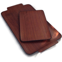 Mid Century Modern Trays-Bent Wood-Set of 2-Sleek Molded Wood-Wood Grain-Retro Barware-Serving Trays-Teak-Hor D'Oervres