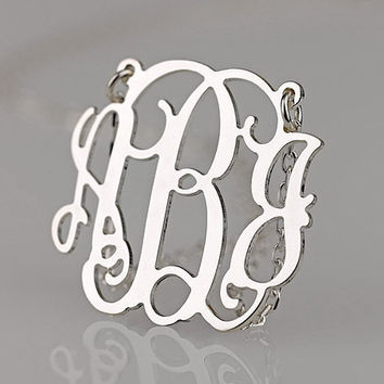 New design monogram necklace 1.25 inch 925 sterling silver --monogram necklace jewelry