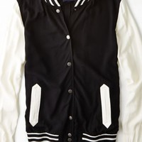 AEO Women's Lightweight Varsity Jacket (True Black)