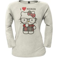 DCCKIS3 Hello Kitty - Nerdy In Plaid Juniors White Thermal