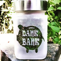 Piggy Dank Bank Etched Glass Stash Jar - Birthday Gifts for Smokers - 420 Gift - Recreational & Medical Marijuana Stash Jars
