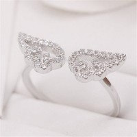 MP Micropave Setting of AAA Quality White Clear CZ Stones Angel Wings Pave Slim Arm Ring Silver Color 18K Gold Plated Gift for Her Promise Ring Engagement Ring Anniversary Ring Chic Ring Party Ring Must Have Ring US 5 ADP 0704