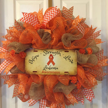 Reserved for Kat,Leukemia Awareness Wreath,Awareness Wreath, Leukemia Wreath,Hope Wreath,Support Wreath,