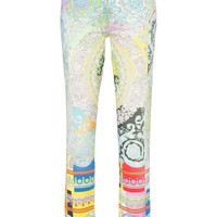 Multi-Colored Stretch Baroque Jeans by Versace