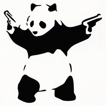 Panda With Guns Sticker Decal Car Bumper Bansky Windows Art Vinyl Truck