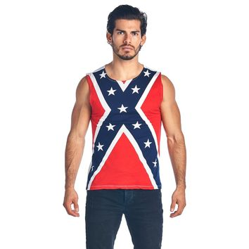 Soft Cotton Confederate Rebel Flag Sleeveless Shirt