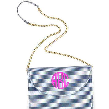 Monogram Navy Seersucker Clutch Crossbody Purse Font Shown NATURAL CIRCLE in Bright Pink